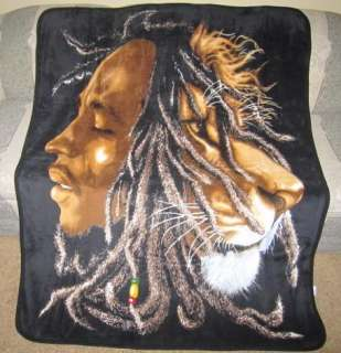 New Bob Marley Lion Head Plush Fleece Warm Throw Blanket Rasta Reggae