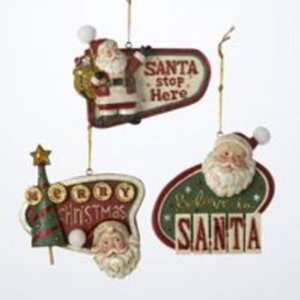 3.75 Resin Retro Santa Sign Ornament Case Pack 144