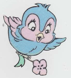 DISNEY SNOW WHITE BLUE BIRD FABRIC APPLIQUE CHARACTER IRON ON