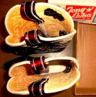 Vintage Tony Lama Patent Leather Black Cherry Cowboy Boots Mens 10 1/2