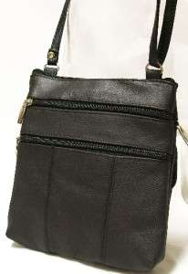 Leather Small Shoulder Bag Purse Black Cross Body Sling Tote
