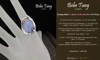 BEBE TUNG 18K750 Black Rose Gold Blue Chalcedony Diamond designed ring