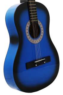 NEW BLUE Acoustic Guitar+PICK+STRING+LESSON