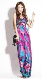 Sexy Floral Pattern Halter BOHO Style Summer Beach Long Maxi Dress #31