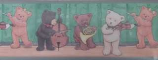 Teddy Bear Wallpaper Border Orchestra Musical Music Kid