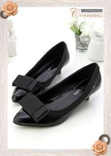 Womens Office Bow Point Toe Low Heel Shoes 2 Colors