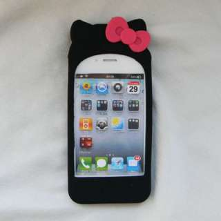 White Hello Kitty Silicone Soft Case Cover with 2 bow knots For iPhone