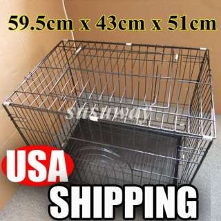 doors Suitcase Folding Dog Puppy Cage Pet Crate Cat Kennel 30