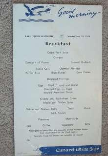 CUNARD WHITE STAR   QUEEN ELIZABETH 1950 Breakfast Menu
