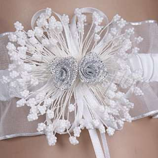 White Dress Bridal Flower Wedding party Toss Garter
