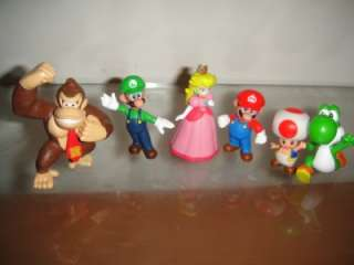Super Mario Bros Figures Mario Luigi Princess Peach Yoshi Toad
