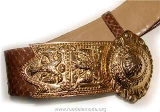JUDITH LEIBER BROWN SNAKE SKIN BELT WITH GORGEOUS GOLD BUCKLE