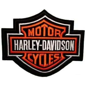Harley Davidson Bar & Sheild Patch (Orange) Small