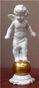 VINTAGE FRAUREUTH CHERUB ANGEL STANDING ON GOLD GLOBE FIGURINE