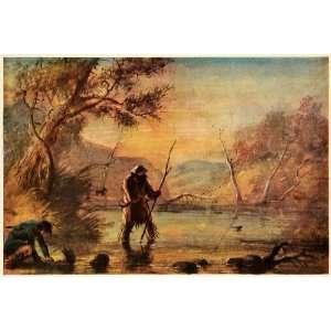 Hunting Beaver Alfred Miller River Trap Art   Original Color Print