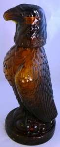COLLECTABLE AMBER BROWN EAGLE BIRD GLASS WHISKY WHISKEY DECANTER