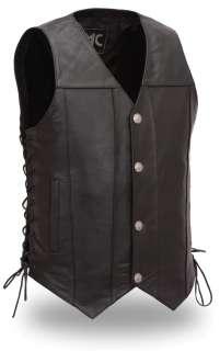 Mens Black Leather Buffalo Nickel Motorcycle Vest Lace