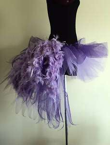 Burlesque Moulin Rouge Tutu Skirt Purple Lilac Bustle Feathers size 6