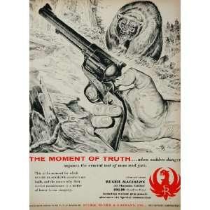 1957 Ad Sturm Ruger Blackhawk Revolver Handgun Bear