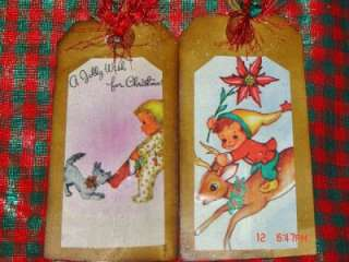 PRIM~VINTAGE~8~CHRISTMAS HANG TAGS~GLITTER~SPICE SCENT