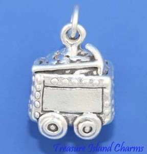COAL MINER MINE ORE CART 3D .925 Sterling Silver Charm Minecart