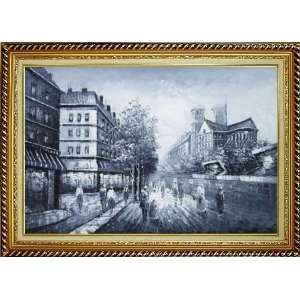 Black and White Paris Street Scene Oil Painting, with