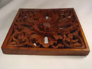 Hand Carved Bali 3 D Wall Panel Flower Relief ART