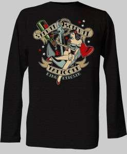 MENS ROCKABILLY T SHIRT LONG SLEEVE BLACK TATTOO HOTROD PINUP RETRO