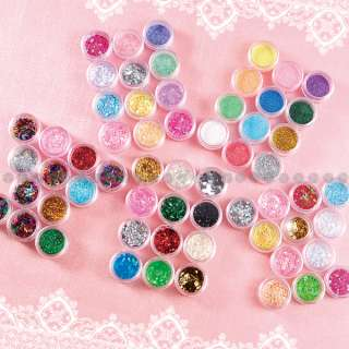 60pcs Star Heart Flower Flake Shape Glitter UV Gel Acrylic Nail Art