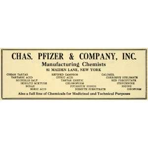 1922 Ad Pfizer Chemistry Pharmaceuticals Chemicals Drugs