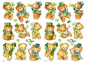 Sheets St Patricks Day TEDDY BEAR Scrapbook Stickers