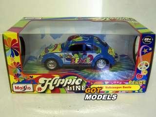 VW BEETLE HIPPIE FLOWER POWER   1/24 SCALE CAR BLUE