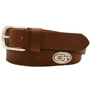 Tech Yellow Jackets Brown Leather Coaches Belt