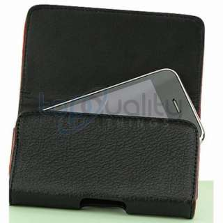 Black Leather Pouch Carrying Case Belt Clip Holster for Apple iPhone