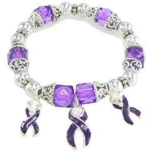 Three Purple Enameled Ribbon Awareness Bracelet Jewelry
