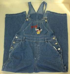 Womens Mickey Mouse Jeans Denim Overalls Disney Large Carpenter