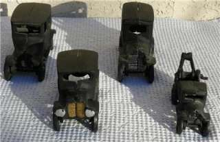 CAST IRON Set 4 Model A Coupe, 2 Sedans & Wrecker Tow Truck GR8 1970s