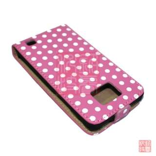 Pink POLKA DOT LEATHER FLIP CASE COVER POUCH FOR SAMSUNG GALAXY II S2