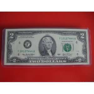 Fancy Serial Number Uncirculated $2 Two Dollar Bill Note F 10127444 A