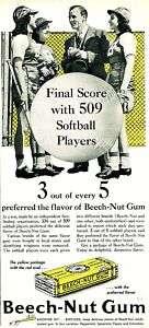 1941 BEECH NUT Chewing GUM Ad. FEMALE SOFTBALL Players