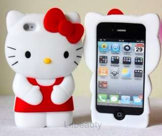 Cute Soft Silicone Hello Kitty 3D Case Cover Skin For iPhone 4 G 4G 4S