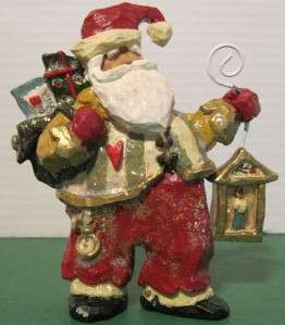 KURT ADLER SNOWTOWN SANTA CLAUS WITH LANTERN FIGURINE