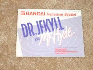DR. JEKYLL AND MR HYDE NINTENDO NES MANUAL***
