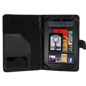 Cimo Kindle Fire Leather Folio Cover Case   Black