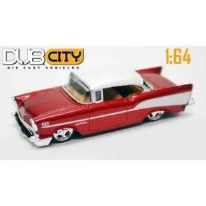 Jada Dub City Metallic Red 1957 Chevy Bel Air 1:64 Scale