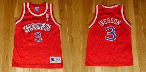 CHAMPION ALLEN IVERSON 1996 97 SIXERS 76ERS #3 YOUTH NBA ROOKIE