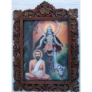 Maa Kali with Ram Krishana Paramhans Pic in Wood Frame