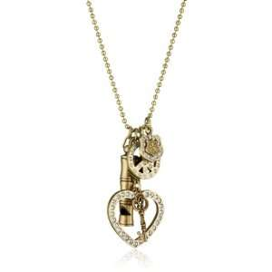 Sisi Amber Multi Charms with Clear Crystals Brass Necklace
