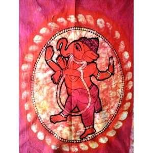 Indian God Lord Ganesh Ganesha Cotton Fabric Tapestry Batik Painting
