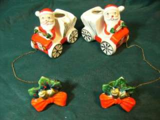 OF VINTAGE COMMODORE JAPAN SANTA CAR & CHAIN & HOLLY CANDLE CLIMBERS